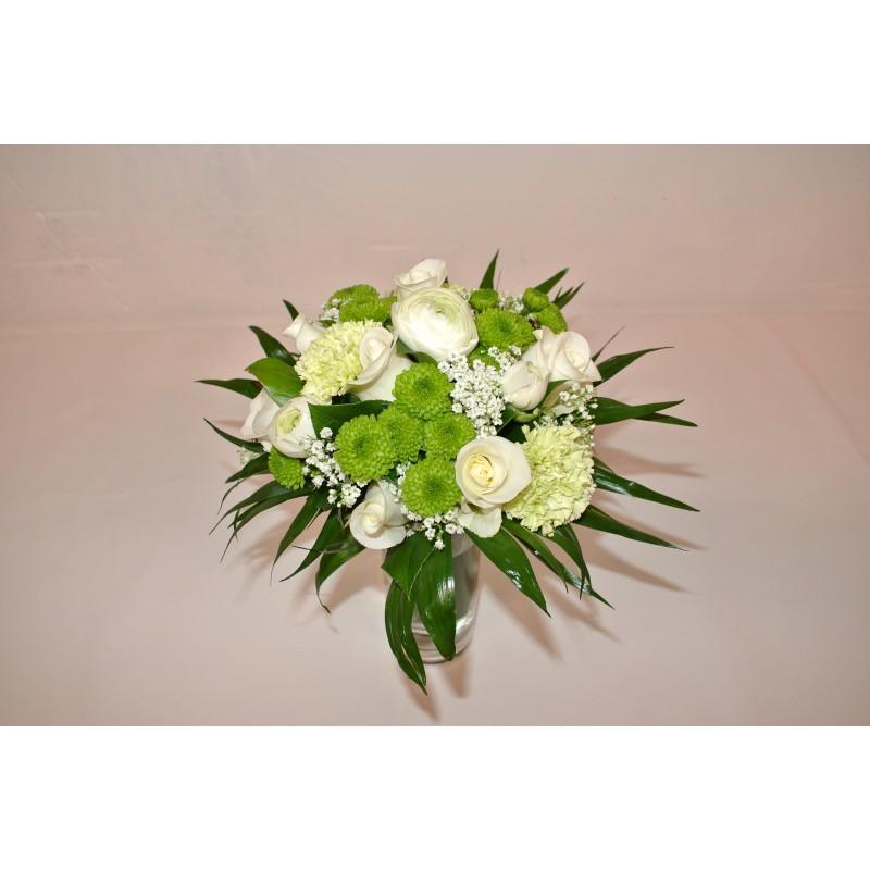 Bouquet rond blanc vert nectoux fleurs for Bouquet de fleurs vert et blanc